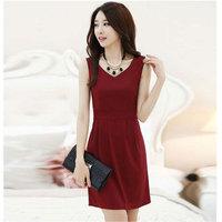 Plus size clothing spaghetti strap vest sweater gentlewomen expansion bottom loose V-neck basic one-piece dress