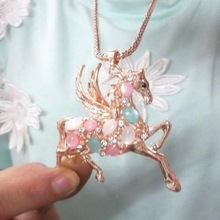 Free Shipping Min Order 10 Multicolours Cupid Crystal Hollow Feather Angel Wing Horse Necklace Imitation DIomand