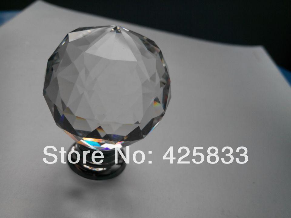 Free Shipping 2pcs 40mm K9 Crystal Knobs Furniture Pulls Glass Drawer Cabinets Handles Pulls Closet Decoration Dresser Knobs(China (Mainland))