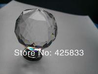 Free Shipping 2pcs 40mm K9 Crystal Knobs Furniture Pulls Glass Drawer Cabinets Handles  Pulls Closet Decoration Dresser Knobs