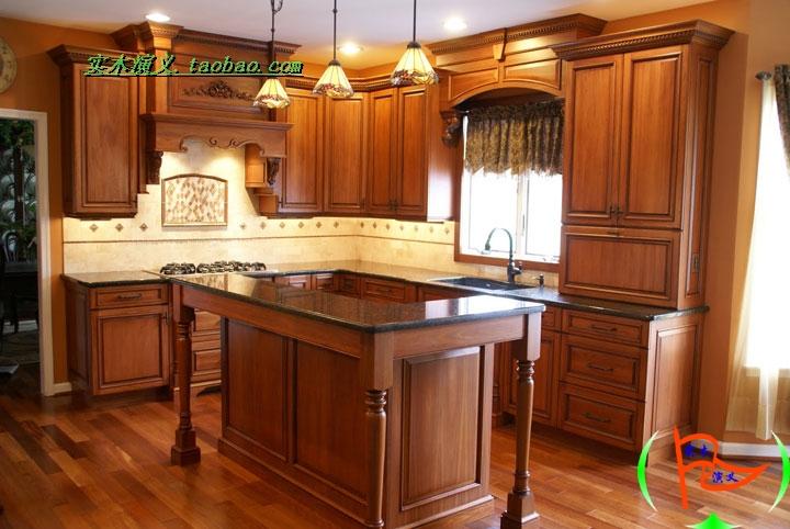 Customize modular kitchen cabinet solid wood kitchen cabinets belt l nakajima american rustic(China (Mainland))