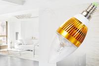 3W E14 E27 85-265V Super Bright LED Candle Light  Warm/Pure White 3pcs/lot