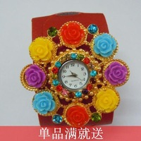 Do not contain electronic Fresh 2013 plants and flowers all-match fashion leather bracelet watch Women