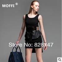 MOFFI Brand Dress PU leather stitching Personality Fashion Girls Women High Quality New2014 Hot Free Shipping,Cheap wholesale
