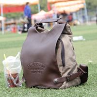 Fashion vintage multifunctional backpack shoulder bag cross-body solid color preppy style canvas bag