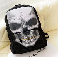 Fashion pirate skulls backpack student bag fashion skeleton print backpack big zipper bag