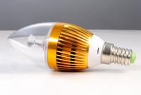 3W E14 E27 85-265V  LED Candle Light  Bulb Warm/Pure White 12pcs/lot