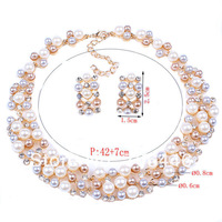 Gold Tone Luxury Gorgeous Wedding Jewelry Sets Tricolor Pearl Rhinestone Crystal Diamante Prom Party Bridal Necklace Earrings