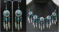 Set Lovely Jewelry tibet Silver turquoise Beads Necklace&earrings
