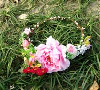 Free Shipping Hot Bohemia Handmade Pink Big Peony Flower  Harishness Hair accessory Headband