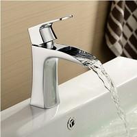 Bathroom Basin Waterfall Faucet. Bathroom Chrome Polished Basin Sink Waterfall Tap. Deck Mounted Mixer WB-101.
