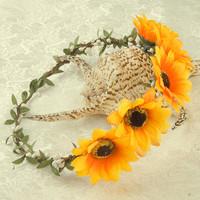 Bohemia Holiday Sunflower Headband Garland Sun Flower Floral Hair Band Wreath Ornament Free Shipping
