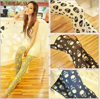 2014 NEW fashion Women's milk silk flower skulls leggings Candy color render pants capris free shipping