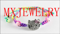 2014 women explodes the latest red false red  drill the Hello Kitty movement woven bracelet can be adjusted