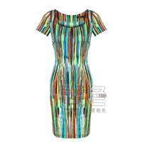 Free shipping new style fashion brief elegant women summer dresses vintage multicolour stripe women's one-piece dress
