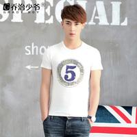 George 2014 summer new arrival men's clothing slim digital print white 100% cotton short-sleeve T-shirt male