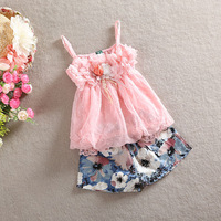 100% cotton high quality 2014 summer new arrival chiffon vest cotton pants floral children wear kid baby girl clothing set