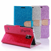 2014 Luxury Sparkle Bling Glitter Starry Diamond Wallet Flip Leather Cover Stand Case for Samsung Galaxy S5 G900