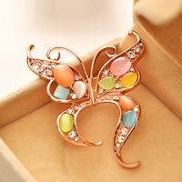 Fashion vintage cat-eye butterfly brooch female ol quality brooch rhinestone pin silk scarf buckle gift