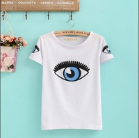 New ! 2014 Fashion Women summer Autumn o-neck 100% cotton short sleeve white personality t shirt 6310 Free Shipping