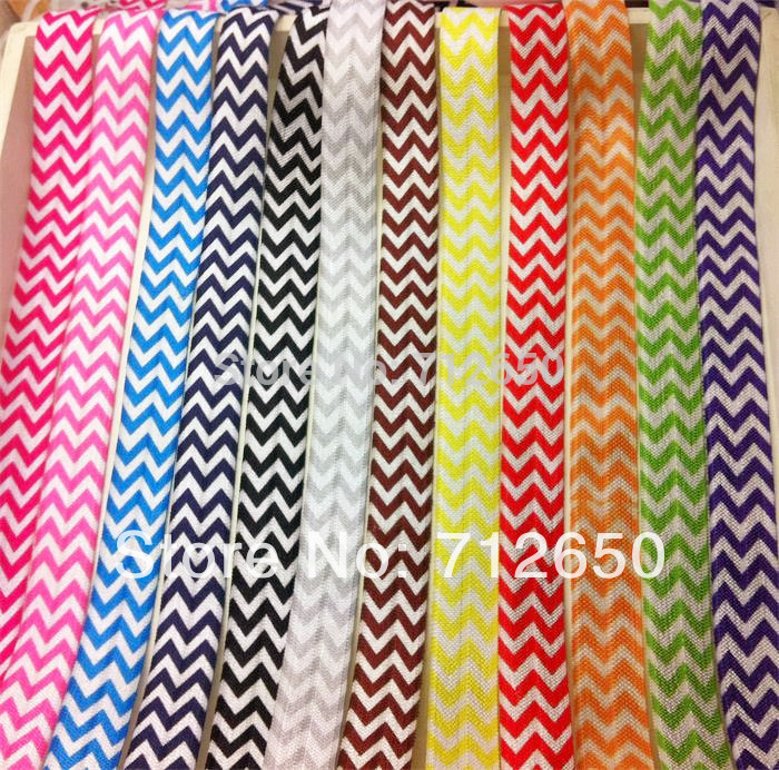 Fold Over Elastic Ribbon Printed chevron 5/8 inch 15mm FOE 24 yards/pack EFTL041 mixed 10 color free shipping hairbow accessory(China (Mainland))