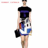 Fashion Summer 2014 Women Dress Runway Catwalk 100%Polyester Print O-Neck Short Sleeve Plus Size Knee-Length Dresses