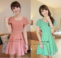 2014 summer plus size clothing for women summer gentlewomen short-sleeve chiffon one-piece dress