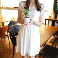 2014 summer women's lace cutout women's short-sleeve dress slim