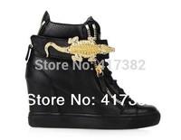 2014 Crocodile Side Zip Hi-Top Sneaker White black  high top brand wedge platform real leather sport sneakers shoes