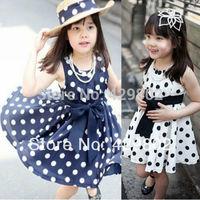 2014 New Arrival New Polka Dot Kids Girls Dress Clothing Party Bowknot Sleeveless Princess