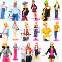 New 2014 Unique Design Sweet Doll Suit Handmade Dress Set Outfit Princess Leisure Wear For 1/6 Barbie Kurhn Doll Girls Girt