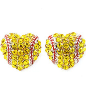 2014 New Arrival Hot Sale New Fashion Jewelry Wholesale Yellow Crystal Fastpitch Softball Heart Earrings