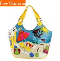 Blue Yellow Beach Traveling Bags Shoulder Blue Hobo Bags For Women Designers Brand Handbags Summer Famous Brand Vintage Bag