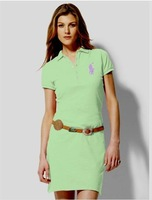 2014 FREE SHIPPING  100% cotton short sleeve Women/ladies Casual Brand Burb Solid color Polo dress. Free shipping Size:S-XL