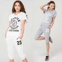 Summer women's 2014 casual set Women plus size short-sleeve capris sports set sportswear