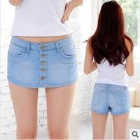 2014 women elegant faux two pc light blue denim shorts all match summer sweet denim front skirts style design denim shorts