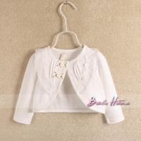 2013 autumn child baby girls clothing cotton lace collar 100% open front shrug coat cape