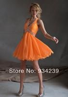 Halter Mini Orange Beading Chiffon A Line Cocktail Dress