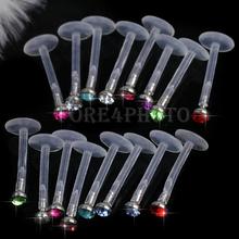 16 Multicolor Glittery Crystal Gem Rhinestone Labret Lip Bar Ring Body Piercing