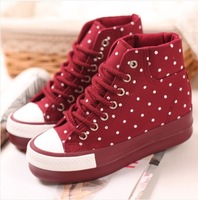 2014 platform shoes elevator shoes casual polka dot high canvas shoes female red