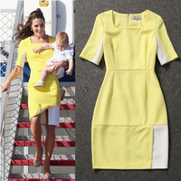 2014 Autumn New Famous Brand Casual  Knee-Length Short Sleeve Luxury Princess Light Yellow  Dress Kate