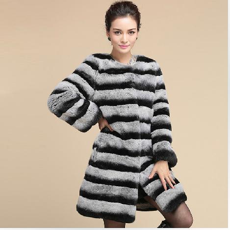 Elegant Real Chinchilla Rabbit Fur Coat Jacket Natural Genuine Fur Parka O Neck Long Design Winter Warm Outerwear Coats BF-C0209(China (Mainland))