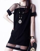 2014 New Fashion Summer Short Sleeve Gauze Dresses Slim Fit Cute Party Girl Cut Out  Mini Dress Black Blue  Y03096