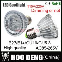 10pcs/lot Par20 Led Lamp E27/GU10/E14/MR16/B22 Spotlight Par 20 3*3W 4*3W 5*3W 15W Dimmable Led Lighting warm/cool/white