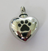 Stainless Steel Silver Heart Shape non fading Pet Cremation Pendant with enamel Paw Print