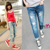 2014 Korean Version Openwork Big Sizes Women Boyfriend Jeans Nine Points Straight Jeans Ladies Denim Trousers