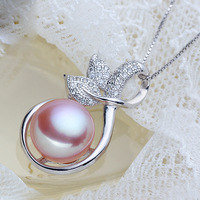11-12mm  100% Natural Freshwater Pearl 925 Silver Pendant Necklace With Chain Wedding Jewelry
