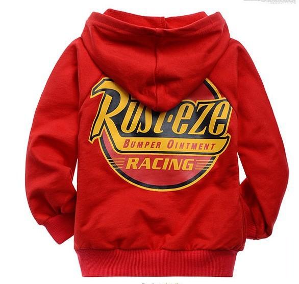 Retail Baby boy Cartoon red car Hooded zipper coat,children outerwear,boy cotton hoodies jacket kids clothes(China (Mainland))