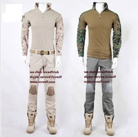 LOVESLF USMC Camo Tactical Airsoft Uniforms EMERSON-II generation frog tight combat camouflage suits clothing set free shipping
