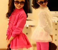 5pieces/lot 2014 Summer/autumn Older Girls Kids Lace Ruffle Blouse/Shirts, Baby Tops, BG495